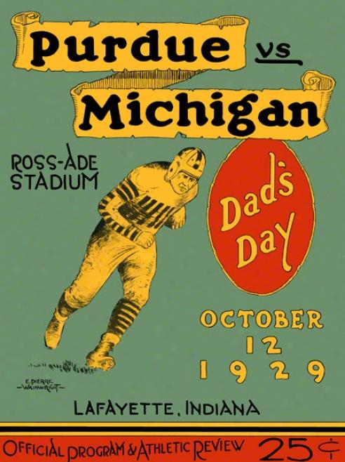 1929 Purdue Vs. Michigan 22 X 30 Canvas Historic Football Print