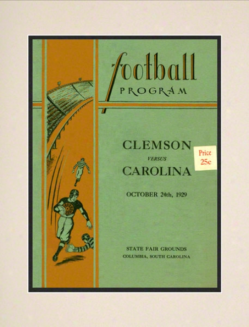1929 South Carolina Vs. Clemson 10.5x14 Matted Historic Football Print