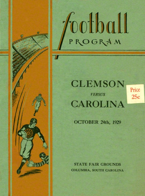 1929 South Carolina Vs. Clemson 22 X 30 Canvas Historic Football Print