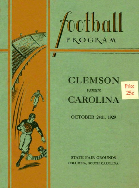 1929 Southern Carolins Vs. Clemson 36 X 48 Canvas Historic Football Newspaper