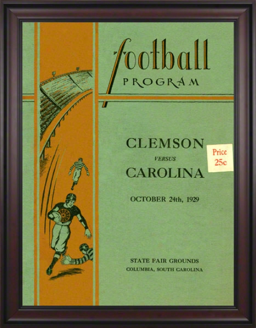 1929 South Carolina Vs. Clemson 36 X 48 Framed Canvas Historic Football Print