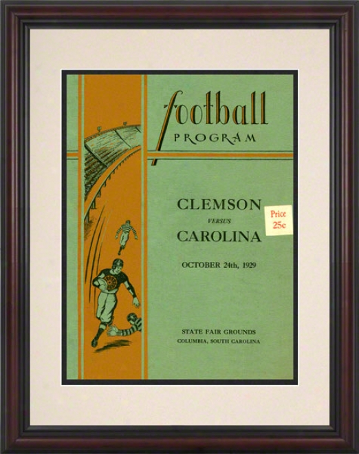 1929 South Carolina Vs. Clemson 8.5 X 11 Framed Historic Football Print
