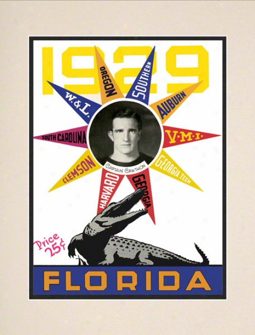 1929 Seminary of learning Of Florida Schedule Cover 10.5x14 Matted Historic Football Print