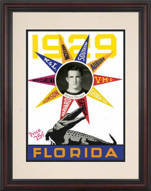 1929 University Of Florida Scherule Cover 8.5 X 11 Framed Historic Football Print