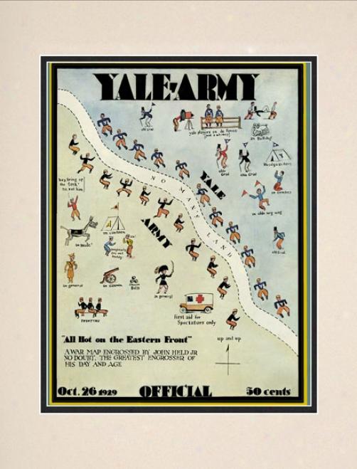 1929 Yale Bulldogs Vs. Army Black Knights 10.5x14 Matted Historic Football Print