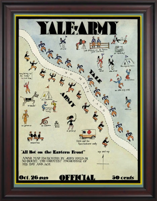 1929 Yale Bulldogs Vs. Army Black Knights 36 X 48 Framed Canvae Historic Football Print