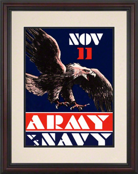 1930 Army Vs. Navy 8.5 X 11 Framed Historic Football Calico