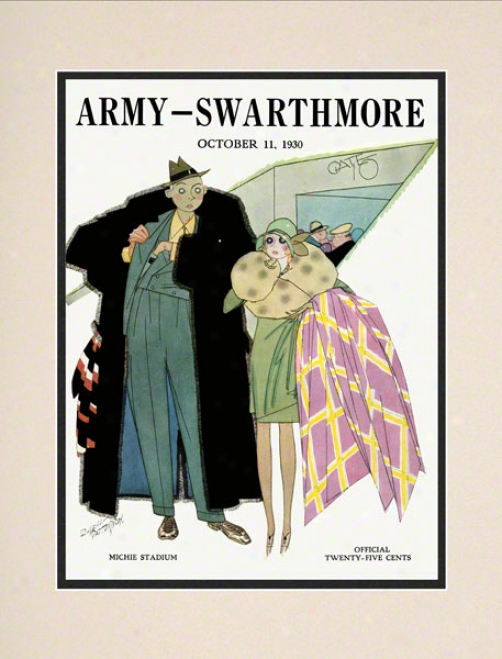 1930 Army Vs. Swarthmore 10.5x14 Matted Historic Football Print