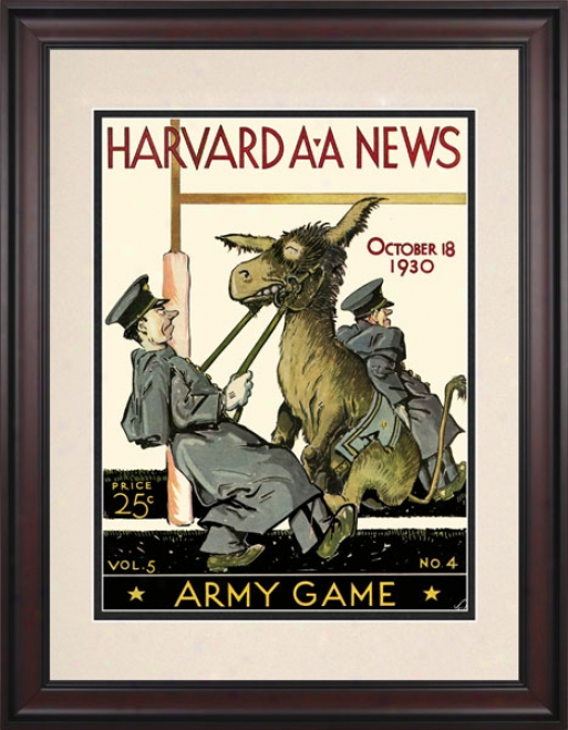 1930 Harvard Crimson Vs. Army Black Knights 10.5x14 Framed Historic Football Print