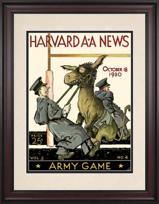 1930 Harvard Crimson Vs. Army Black Knights 10.5x14 Framed Historic Football Print