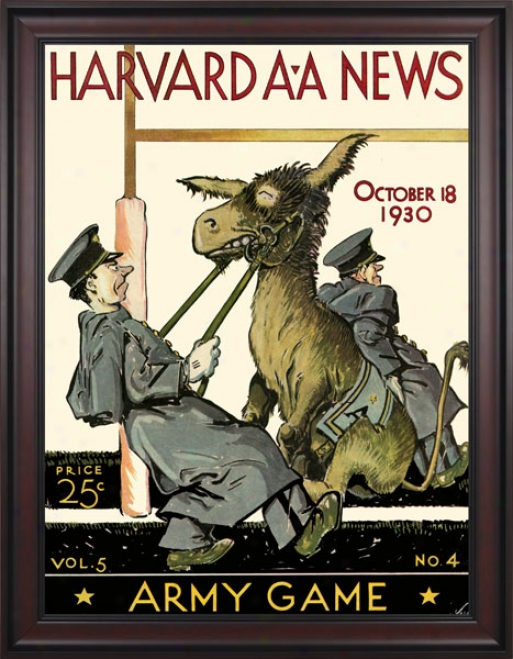 1930 Harvard Crimson Vs. Army Black Knights 36 X 48 Framed Canvas Historic Football Calico