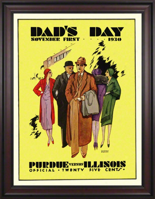 1930 Illinous Vs. Purdue 36 X 48 Framed Canvas Historic Football Print