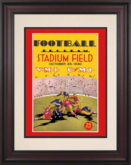 1930 Maryland Vs. Vmi 10.5x14 Framed Historic Football Print
