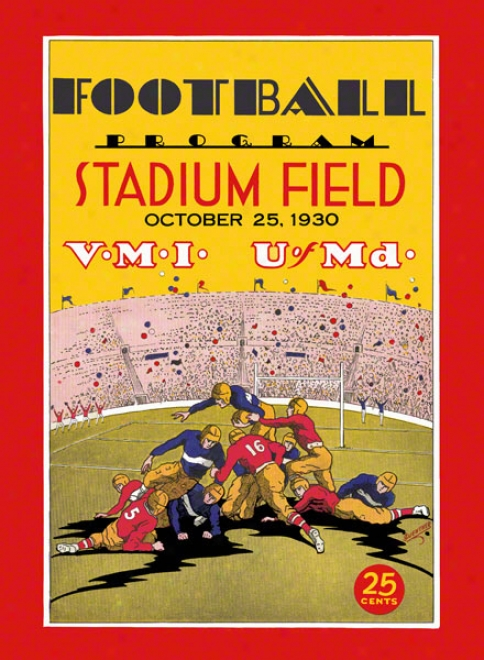 1930 Maryland Vs. Vmi 22 X 30 Canvas Historic Football Print