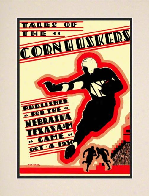 1930 Nebraska Vs. Texas A&m 10.5x14 Matted Hist0ric Football Print