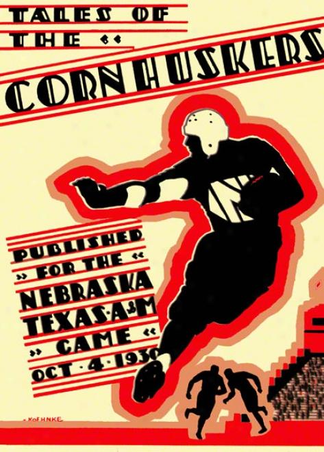 1930 Nebraska Vs. Texas A&m 22 X 30 Canvas Historic Football Print