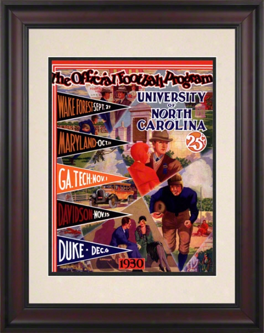 1930 North Carolina Season Schedule 10.5x14 Framed Historic Football Print