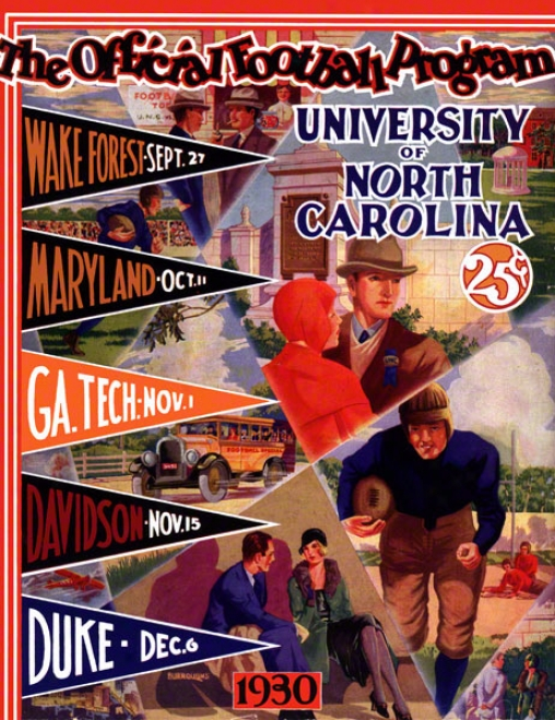 1930 North Carolina Season Schedule 36 X 48 Canvas Histooric Football Print