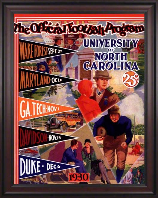 1930 North Carolina Season Schedule 36 X 48 Framed Canvas Historic Football Print