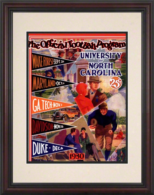 1930 No5th Carolina Season Inventory 8.5 X 11 Feamed Historic Football Print