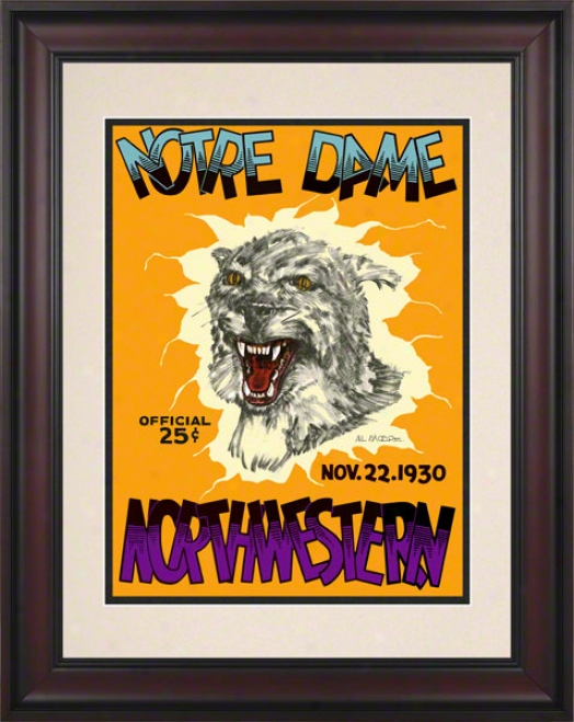 1930 Northwestern Wildcats Vs Notre Dame Fighting Irish 1 01/2 X 14 Framed Historic Football Poster