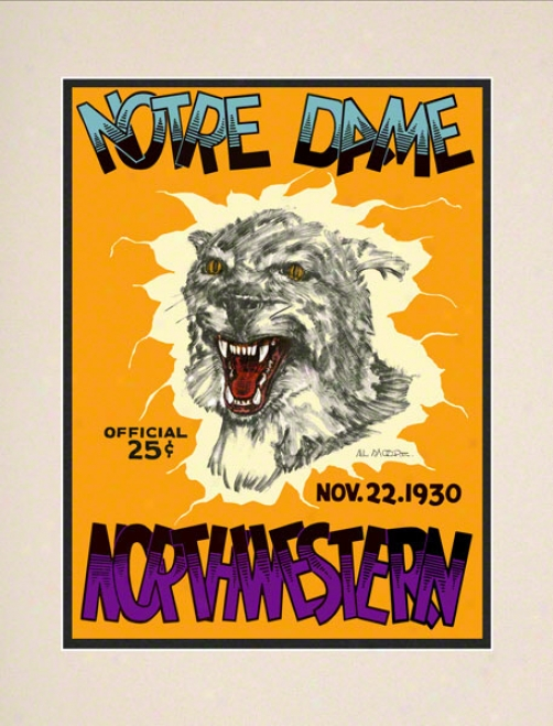 1930 Northwestern Wildcats Vs Notre Dame Contention Irish 10 1/2 X 14 Matted Historic Football Poster