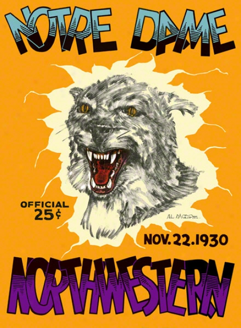 1930 Northwestern Wildcats Vs Nofre Mistress Fighting Irish 36 X 48 Canvas Historic Football Poster
