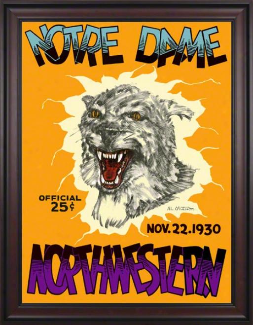 193O Northwestern Wildcats Vs Notre Dame Fightingg Irish 36 X 48 Framed Canvas Historic Football Poster