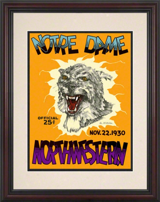 1930 Northwestern Wildcats Vs Notre Dame Fighting Irish 8.5 X 11 Framed Historic Football Poster
