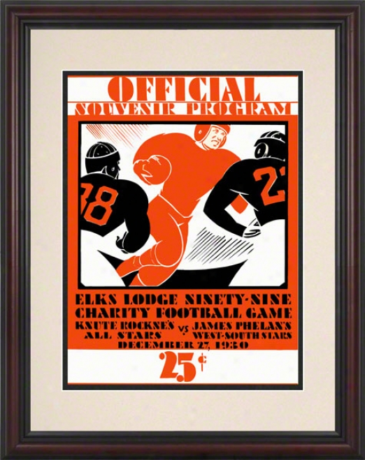 1930 Notre Dame Fighting Irish 8.5 X 11 Framed Hsitoric Football Poster