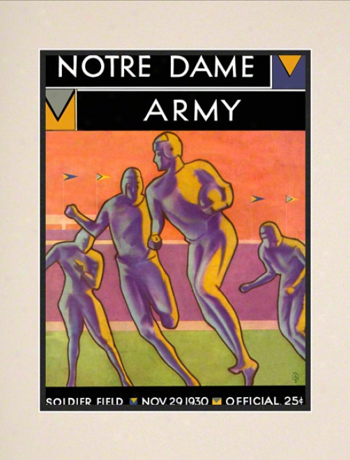 1930 Notre Dame Fighting Irish Vs Army Blaco Knights 10 1/2 X 14 Matted Historic Football Poster