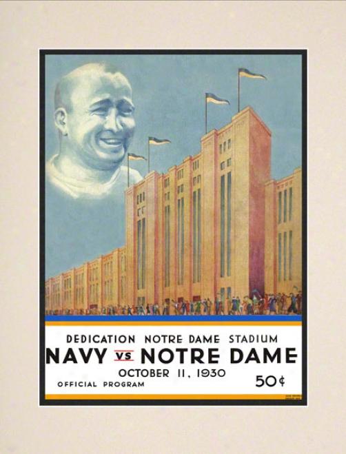 1930 Notre Dame Fighting Irish Vs Navy Midshipmen 10 1/2 X 14 Matted Historic Football Poster