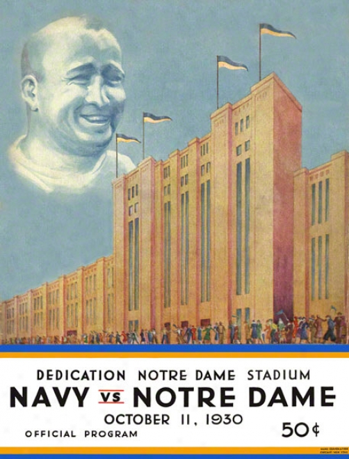 1930 Notre Dame Fighting Irish Vs Navy Midshipmen 22 X 30 Cnavas Historic Football Poster