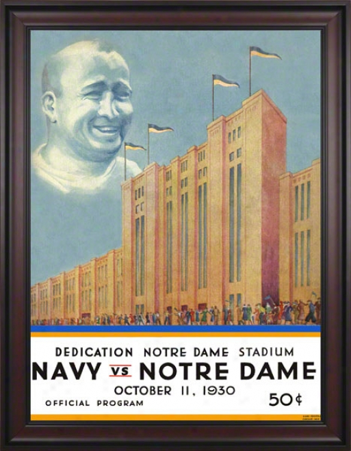 1930 Notre Dame Fighting Irish Vs Navy Midshipmen 36 X 48 Framer Canvas Historic Football Postdr