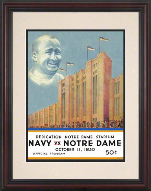 1930 Notre Dame Fighting Irish Vs Navy Midshipmen 8.5 X 11 Framed Historic Football Poster
