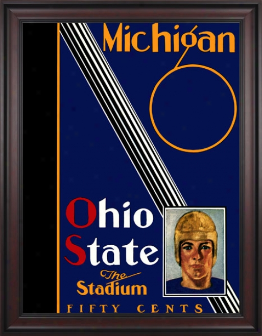 1930 Ohio State Buckeyes Vs. Michigan Wolverines 36 X 48 Framed Canvas Historic Football Print