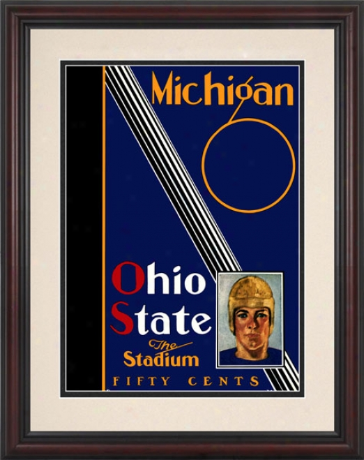 1930 Ohio State Buckeyes Vs. Michigan Wplverines 8.5 X 11 Framed Historic Football Print