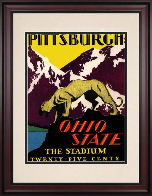 1930 Ohio State Buckeyes Vs. Pittsburgh Panthers 10.5x14 Framed Historic Football Print