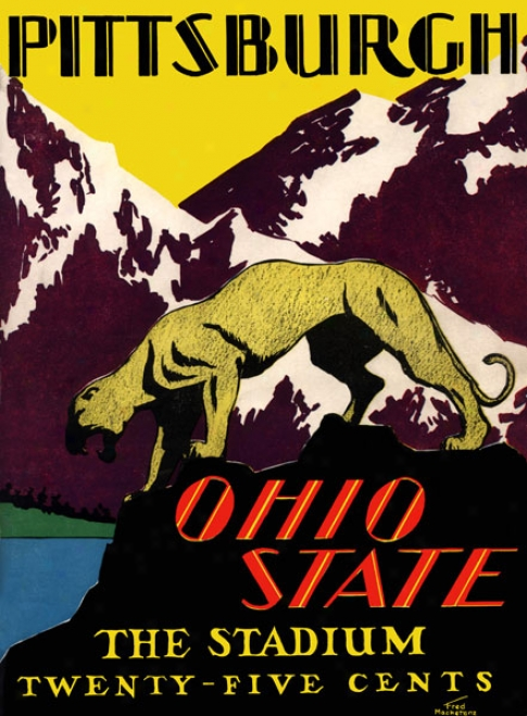 1930 Ohio State Buckeyes Vs. Pittsburgh Panthers 36 X 48 Canvas Historic Football Print