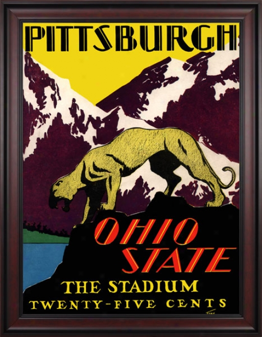 1930 Ohio State Buckeyes Vs. Pittsburgh Panthers 36 X 48 Framed Canvas Historic Football Print