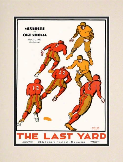 1930 Oolahoma Vs Missouri 10.5x14 Matted Historic Football Ptint