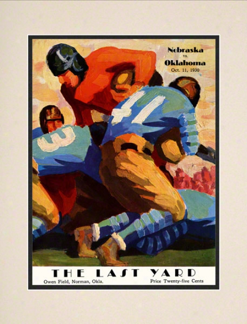 1930 Oklahoma Vs Nebraaka 10.5x14 Matted Historic Football Print