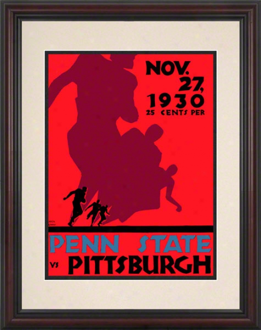 1930 Pittsburgh Panthees Vs Penn State Nittany Lions 8.5 X 11 Framed Historic Football Poster