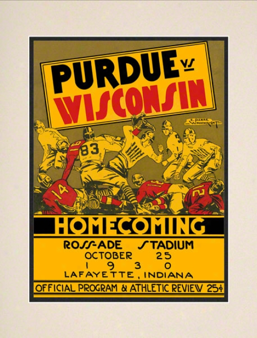 1930 Purdue Vs. Wisconsin 10.5x14 Matted Historic Football Print