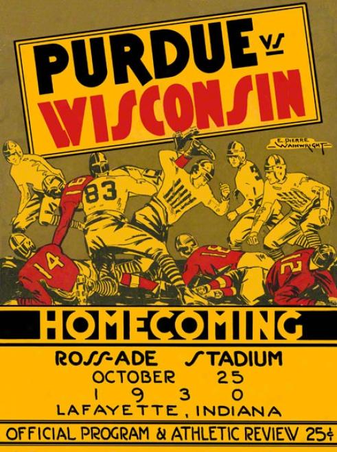 1930 Purdue Vs. Wisconsin 36 X 48 Canvas Historic Football Calico