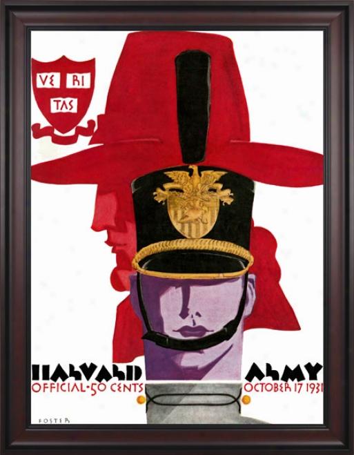 1931 Army Black Knights Vs. Harvard Crimson 36 X 48 Framed Canvas Historic Foootball Print