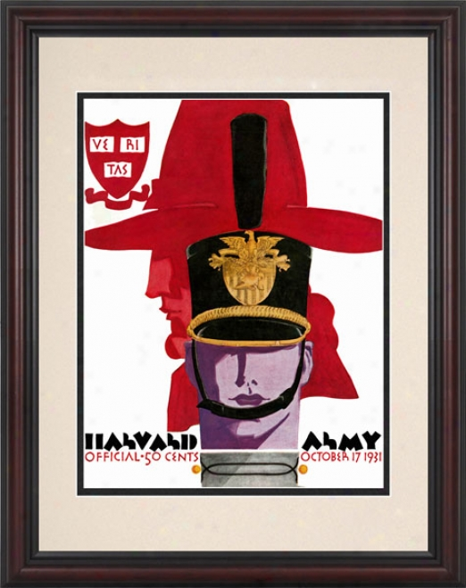 1931 Army Black Knights Vs. Harvard Crimson 8.5 X 11 Framed Historic Football Print