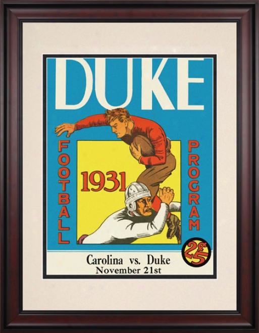 1931 Duke Blue Devils Vs. North Carolina Tar Hdels 10.5x14 Framedd Historic Football Print