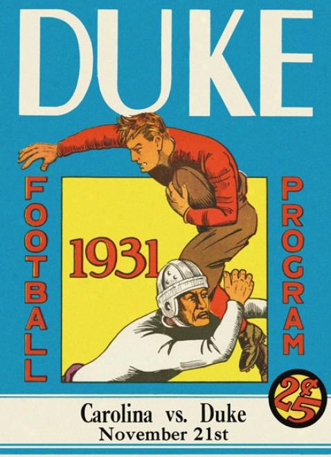 1931 Duke Blue Devils Vs. North Carolina Tar Heels 22 X 30 Canvas Hsitoric Foorball Print