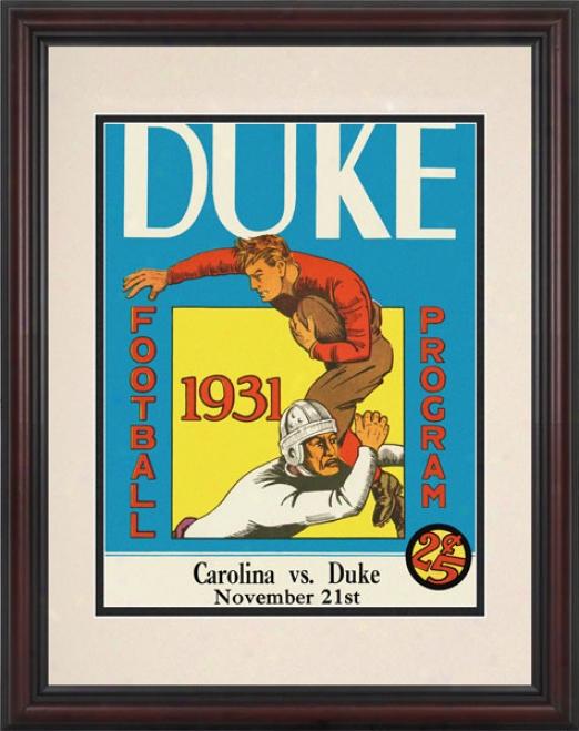 1931 Duke Blue Devils Vs. North Caroliina Tar Heels 8.5 X 11 Framed Historic Football Print